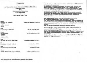 programma Bethelkerk 2003